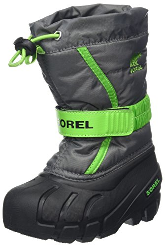 SOREL Flurry Boot - Little Boys' Quarry/Cyber Green, 12.0 (Sorel Boots Kids)