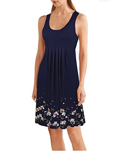 Kilig Summer Casual Loose Print Pleated Sleeveless Vest Dresses(Navy, XXL)