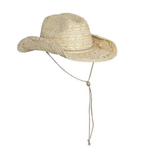 Natural Straw Cowboy Hat for Women with Shapeable Brim and Chin Strap