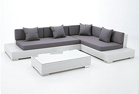 Set lounge rattan blanco Yala sofa rinconera: Amazon.es: Jardín