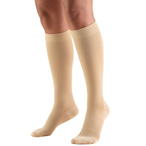 Truform 20-30 mmHg Compression Stockings for Men and Women, Knee High Length, Closed Toe, Beige, Medium