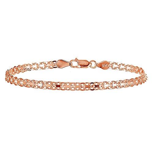Rose Gold Flashed Sterling Silver 4mm Polished Bismark Chain Bracelet ()