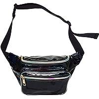 AIWENSI Casual Hologram Fanny Pack Upgraded, Soft PU Laser Travel Purse Waist Bag for Women Girls - Rave, Festival, Concert