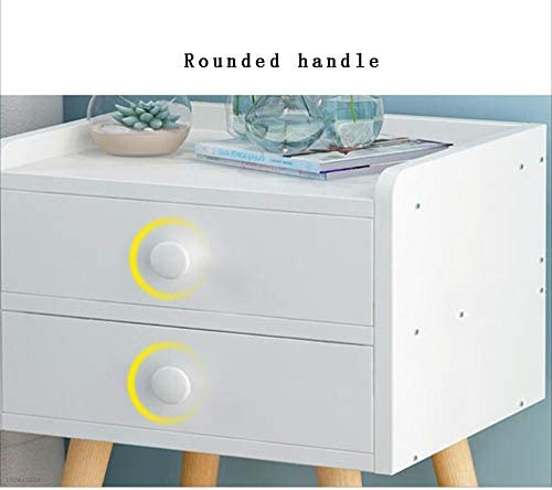 Bookcases NAN Liang Bedside Table Cabinet White Drawer Wooden Night Stand Modern Nightstand Storage Cabinet with 4 Wooden Legs Storage Unit Shelf Color White, Size 332854CM