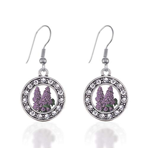 Inspired Silver - Lilac Flower Charm Earrings for Women - Silver Circle Charm French Hook Drop Earrings with Cubic Zirconia Jewelry