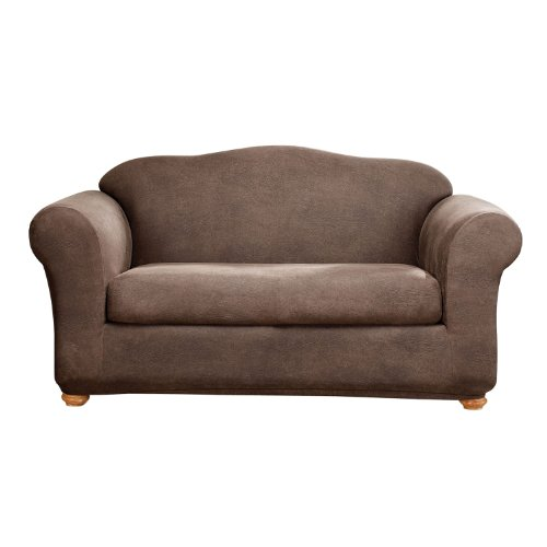 Sure Fit Stretch Leather 2-Piece - Sofa Slipcover  - Brown (SF37336)