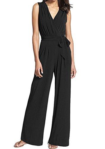 INIBUD Jumpsuits for Women Surplice Self-Tie Sesh Wide Leg Sleeveless V Neck Chiffon (Black, US - Jumpsuit Suit