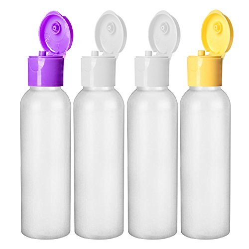 MoYo Natural Labs 2 oz Travel Bottle, TSA Approved Empty Travel Containers with Multi Color Flip Caps, BPA Free HDPE Plastic Squeezable Toiletry/Cosmetic Bottles (4 Pack, HDPE Translucent White)