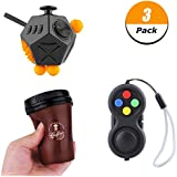 3 in 1 Fidget Toys Set, 2nd 12 Side Cube Upgrade Version 9 Side Cube and Coffee Cup Slow Rising Squishy With Premium Quality for EDC Focus Toy for Kids & Adults