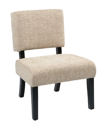 AVE SIX Jasmine Accent Chair with Espresso Finish Solid Wood Legs, Maze Oyster