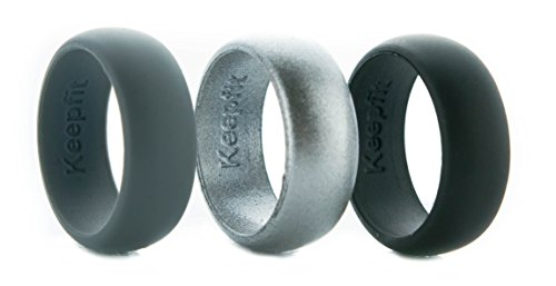 3 Silicone Wedding Ring Silicone Wedding Band for Men Metallic Ring Set for Crossfit, Climbing, WOD's and Outdoor Sports (Black - Grey - Metalic Black, - Pewter Floss