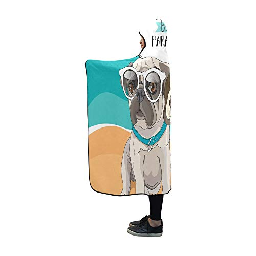 (WJJSXKA Hooded Blanket Puppies Pug and Beagle in A Glasses and with A Flo Blanket 60x50 Inch Comfotable Hooded Throw Wrap)