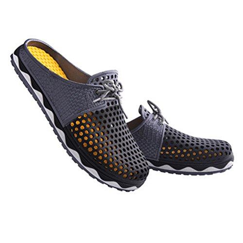 Fortuning's JDS Moda transpirabilidad verano zapatos de playa ahuecan hacia fuera zapatillas para las mujeres y los hombres negro