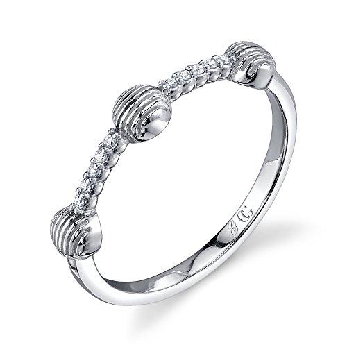 CHARLIZE GADBOIS Sterling Silver Diamond Ring White Rhodium (0.05 cttw, I1-I2 Clarity), Size 6 by Gadbois Jewelry