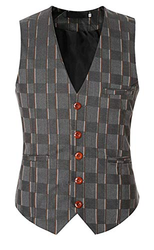 Grau Gilet Bouton Fit Col Costume Slim Blazer Veste Casual Retro V Hommes wqgFPEtcF