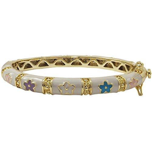 Ivy and Max Gold Finish White Enamel Multi-color Flowers Girls Bangle Bracelet (42 mm - age 1-6 (Multi Color Enamel Bracelet)