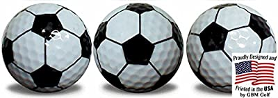 Soccer Ball Golf Balls 3 Pack with a black, full wrap, imprint