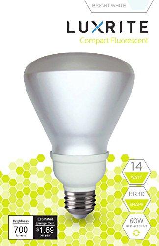 15w Br30 Cfl (Luxrite LR20505 (10-Pack) 14-Watt CFL BR30 Floodlight Bulb, Equivalent To 60W Incandescent, Bright White 5000K, 700 Lumens, E26 Standard Base)