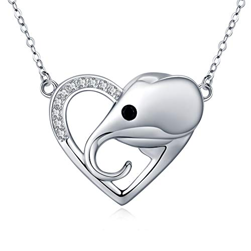 Sterling Silver Lucky Elephant Necklace,White Gold Cubic Zirconia Love Heart Pendant Necklace Cute Elephant Animal Jewelry for Women Men