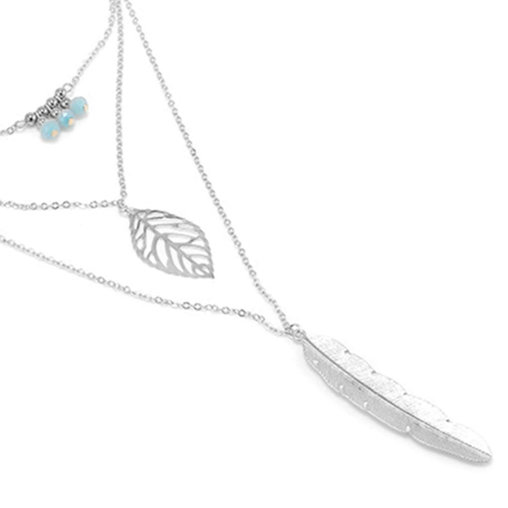 Uzinb Women 3 Layers Leaf Feather Necklace Female Bohemian Multilayer Chain Mother s Day Thanksgiving Gift Jewelry