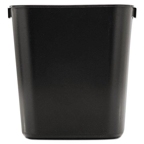 Rubbermaid 295500BK Deskside Plastic Wastebasket, Rectangular, 3 1/2 gal, Black