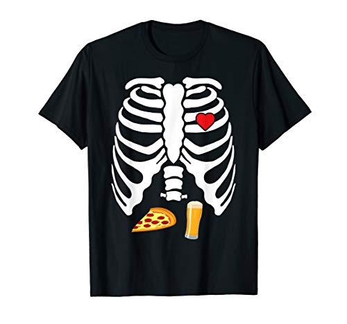 Skeleton Pregnancy Pizza Beer X-Ray Halloween Shirt ()