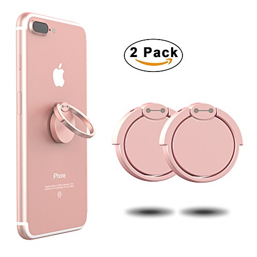 Phone Ring Finger Holder(2 pack), Ouktor 360° Stand Grip & Kickstand Accessory for Cell Phone iPhone 6 7 8 Plus X, Samsung Galaxy S6 S7 S8 Note 8,Universal Fit (Rose (Rose Finger Ring)