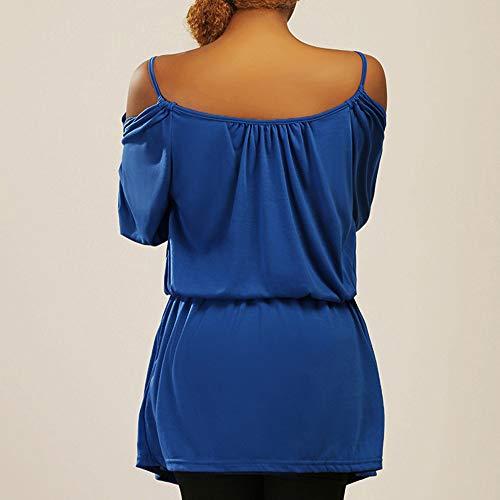Tops Longue Dcontracte Fille en Mode Les Tous Haut Sexy 1 Bleu Vetements Chic OVERMAL Shirt T et Manches t Bureau Jours Vrac Femmes Automne Chemise Blouse qwICxaCtn