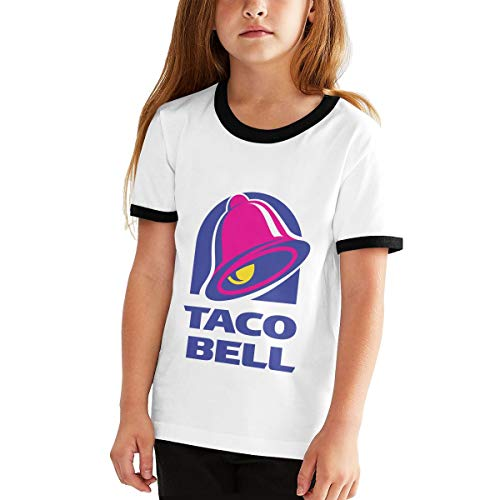 Teen Girls' Boys' Youth Crew Neck Short Sleeve Tee Jersey, Illuminati Triangle Art Majestic Bell with Taco Black