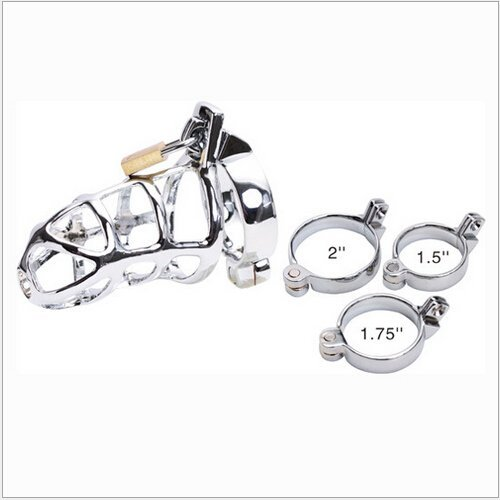 MISSLOVER Sexy Slave Male Metal Chastity Device Cock Cages Men's Virginity Lock Penis Rings Adult Prodcuts Games Sex Toys M300 1pcs by MISSLOVER