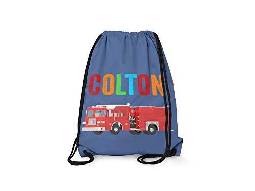 Tin Tree Gifts Customized Drawstring Backpack Firetruck Personalized Backpack