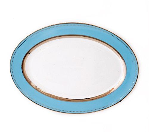CRU by Darbie Angell Lauderdale Oval Platter, Sea Blue/Platinum/White (Classic Platinum Platter Oval)