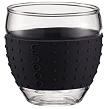 Bodum 3-Ounce Pavina Glasses with Silicone Grip, Set of 2 (Black)