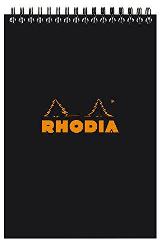 Rhodia Lined Wirebound blocs de notas, 5,8x 8.3-inches, color negro (165019C)
