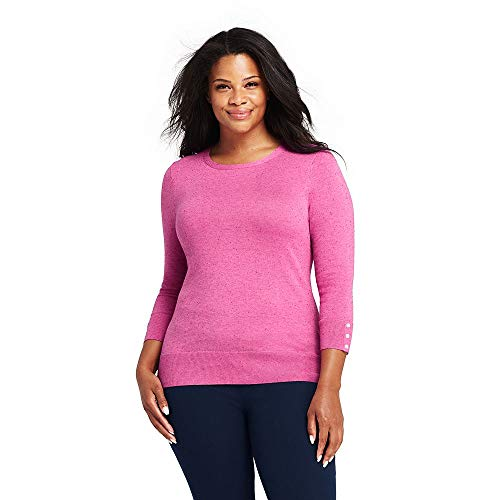 (Lands' End Women's Plus Size Supima Cotton 3/4 Sleeve Sweater, 1X, Pink Begonia)