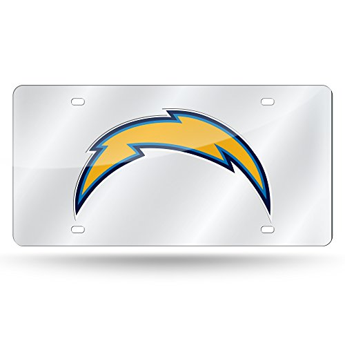 Rico Industries NFL Los Angeles Chargers Laser Inlaid Metal License Plate Tag, Silver