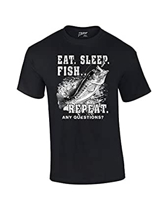 Fishing T-Shirt Eat Sleep Fish Repeat-Black-small