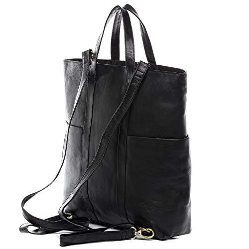 BACCINI laptopväska och ryggsäck äkta läder Liane-Duo Shopper ryggsäck multifunktionell 2i-1 laptopfack läderväska dam svart