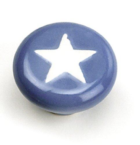 Laurey 1850 Cabinet Hardware 1-3/8-Inch Knob, Blue with White Star - Laurey Stars