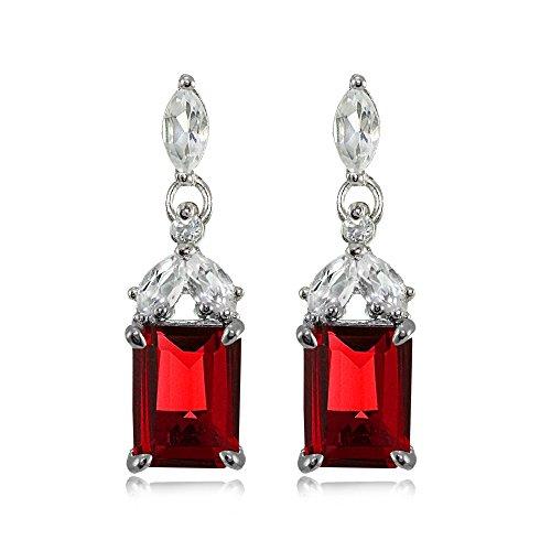 Sterling Silver Choice of Created or Genuine Gemstone & White Topaz Emerald-Cut Dangle Earrings