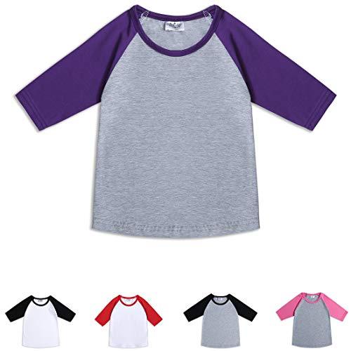 Cloudcreator Toddler Baby Girls Boys 3/4 Sleeve Shirts Raglan Shirt Baseball Tee Cotton T-Shirt (Purple&Grey, 3 Years)