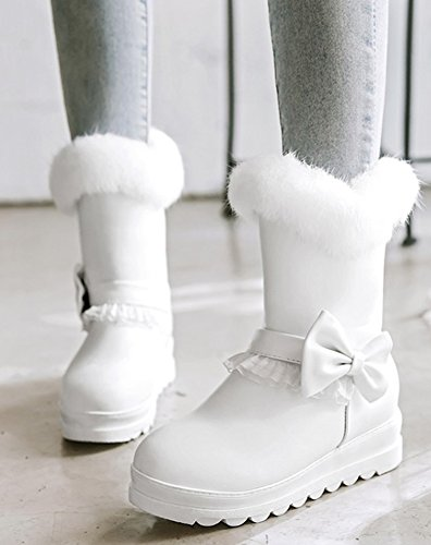 Lace Thick Lovely High Sole Boots Women's SHOWHOW Fur Lined Bow White Faux Ankle q6Bx1Cwnta