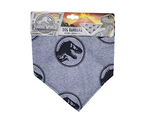 Jurassic World Logo Bandana for Dogs   Dinosaur Dog Bandana, Small, Gray and Black Print