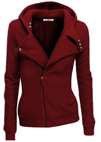 SkylineWears Women Slim Fit Zip Up Fleece Hoodie Jacket Wine Small (Customized Fleece Jackets)