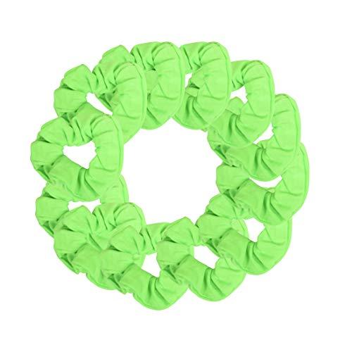 12 Pack Solid Hair Ties Scrunchies - Neon Green]()
