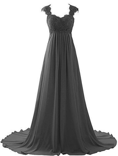 (Erosebridal Empire Waist Beach Wedding Dress Lace Chiffon Prom Dress Gowns Size 2 Grey)