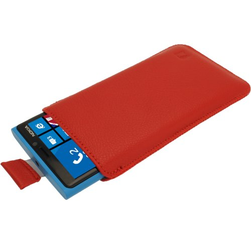 igadgitz Red Leather Pouch Case Cover for Nokia Lumia 920 & 925 Windows Smartphone Mobile Phone
