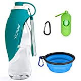 Yicostar Dog Water Bottle, 20 Oz Pet Water Bottle Foldable with Collapsible Dog Bowl for Dogs, Dog Travel Water Bottles with Potty Waste Bag Dispenser, Portable Pet Water Dispenser for Hiking, Walking