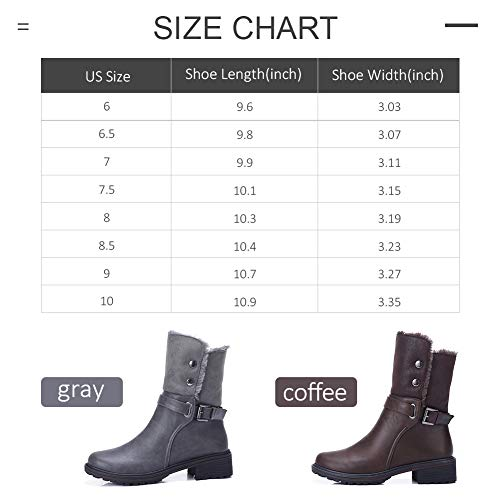 6cb1bc60b08d CAMEL CROWN Women s Warm Winter Boots Round Toe Leather Chunky Low Heel  Faux Fur Winter Riding