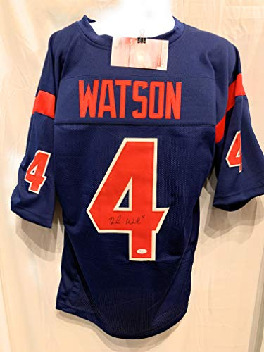 Deshaun Watson Houston Texans Signed Autograph Blue Custom Jersey JSA Witnessed Certified ()